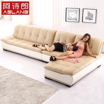 接触面真皮L形木质工艺移动海绵简约现代 沙发