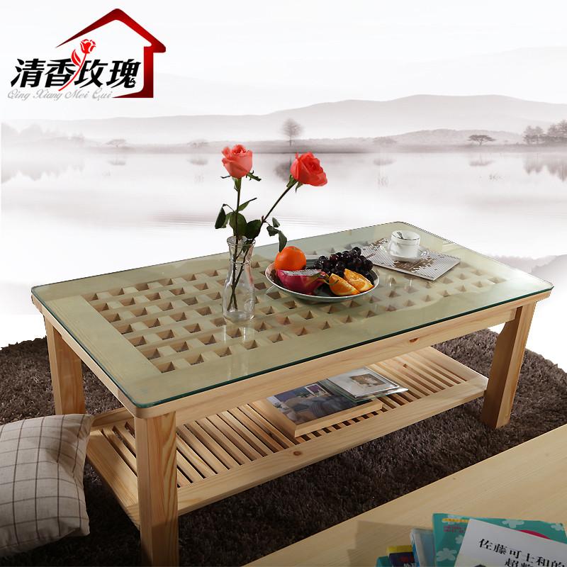 清香玫瑰小方格玻璃茶几油漆工艺木质工艺喷漆拼板松木田园茶几