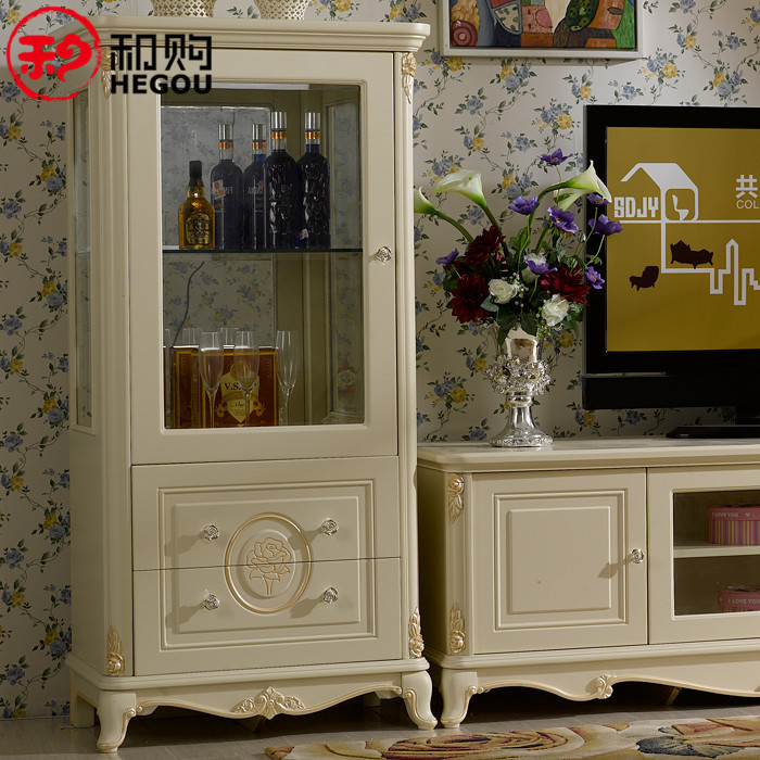 和購 人造板框架結構橡膠木儲藏歐式 酒柜