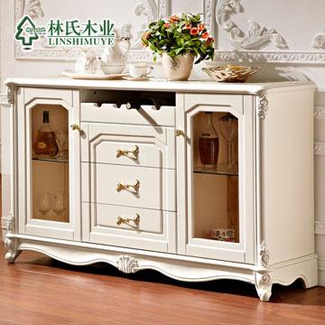 林氏木业仿古白人造板密度板纤维板储藏欧式餐边柜