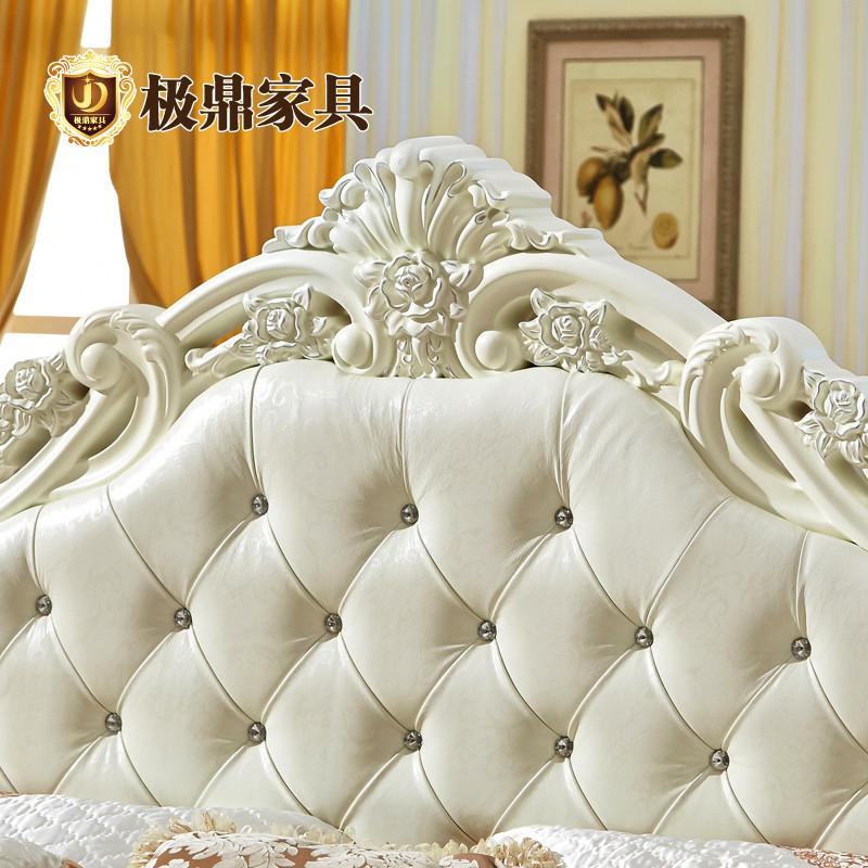 jd 极鼎家具 荷花白进口真皮橡木组装式架子床欧式雕刻 床