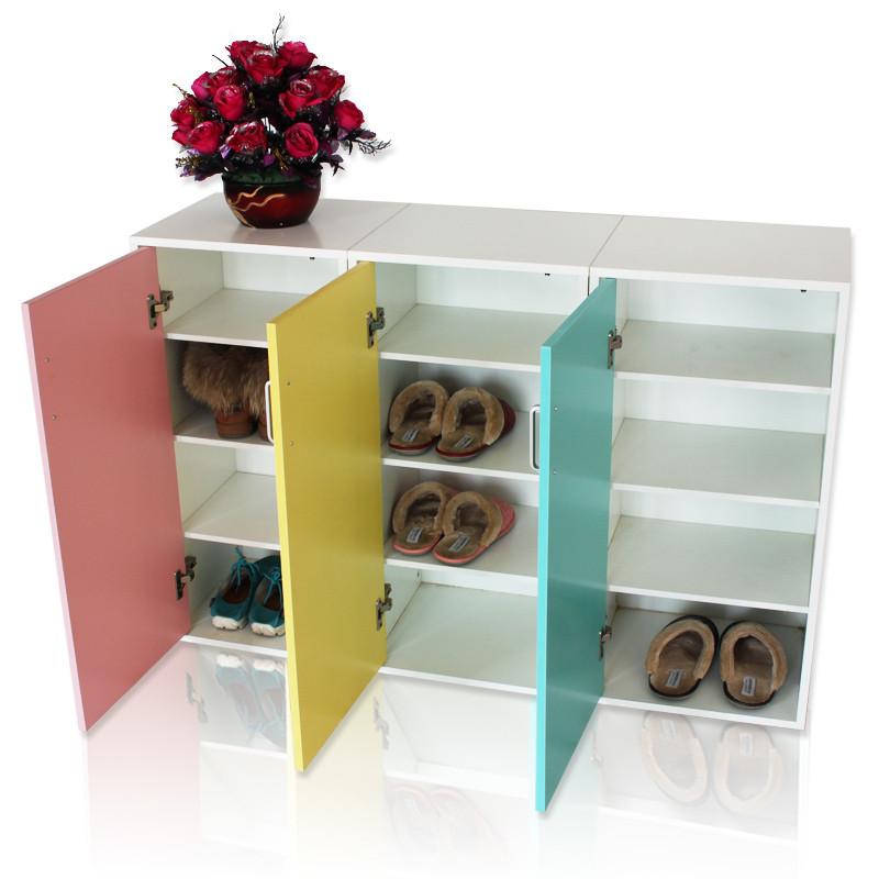 华可 人造板密度板/纤维板PVC支架结构多功能单开门简约现代 鞋柜