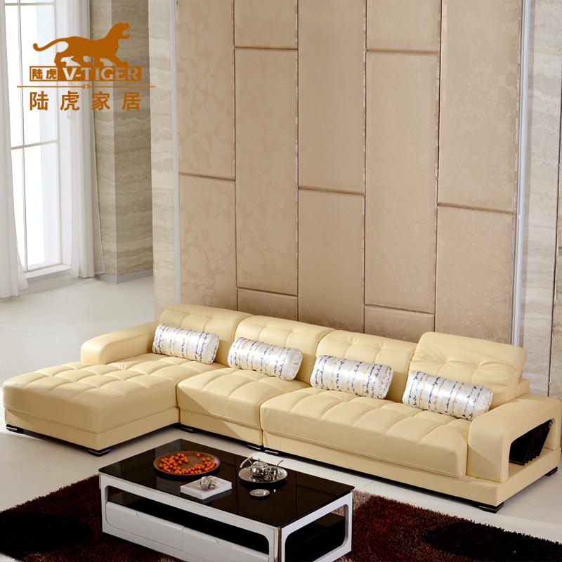 陆虎 接触面真皮L形木质工艺拼板多功能海绵简约现代 沙发