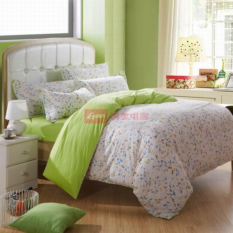 皇家皇朝 全棉所有人群四件套床單式田園風格活性印花 浪漫韻律(綠)床品件套四件套