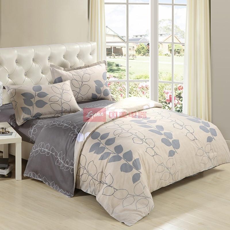 悦达全棉所有人群四件套床单式田园风格涂料印花床品件套四件套
