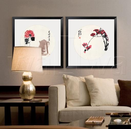 墙蛙款(左)款(右)平面有框植物花卉喷绘-装饰画