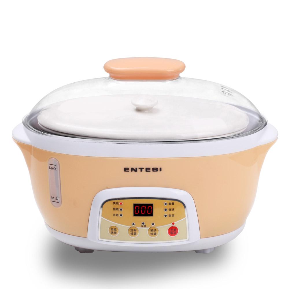 ENTESI 粉红色香槟色陶瓷全国联保电脑式 电炖锅