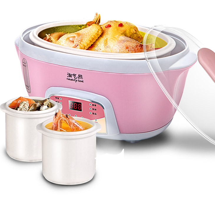 淘气熊 粉色黄色陶瓷全国联保电脑式 电炖锅