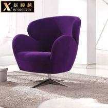 紫色填充物布艺 休闲椅