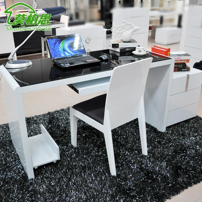莫柏思人造板组装密度板纤维板玻璃储藏单个简约现代书桌