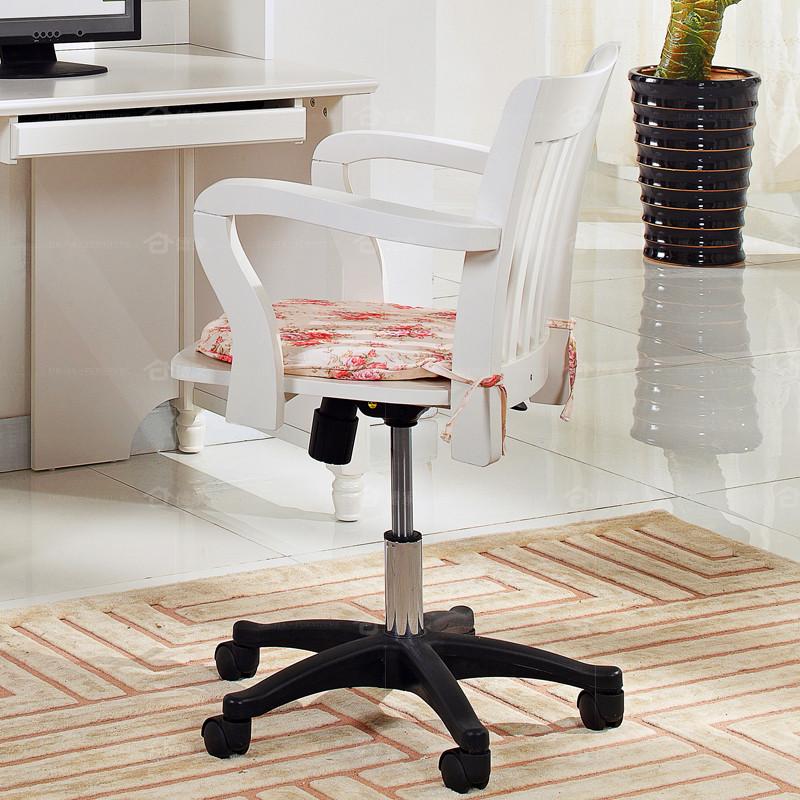 德家 象牙白1系【现货】人造板固定扶手尼龙脚实木密度板/纤维板 办公椅