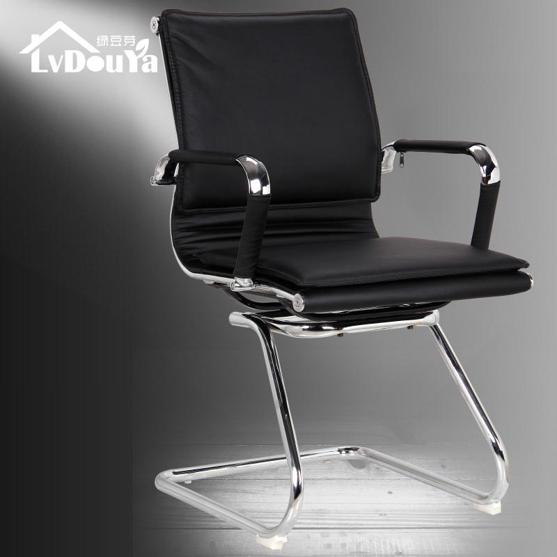 绿豆芽金属固定扶手钢制脚皮艺-电脑椅