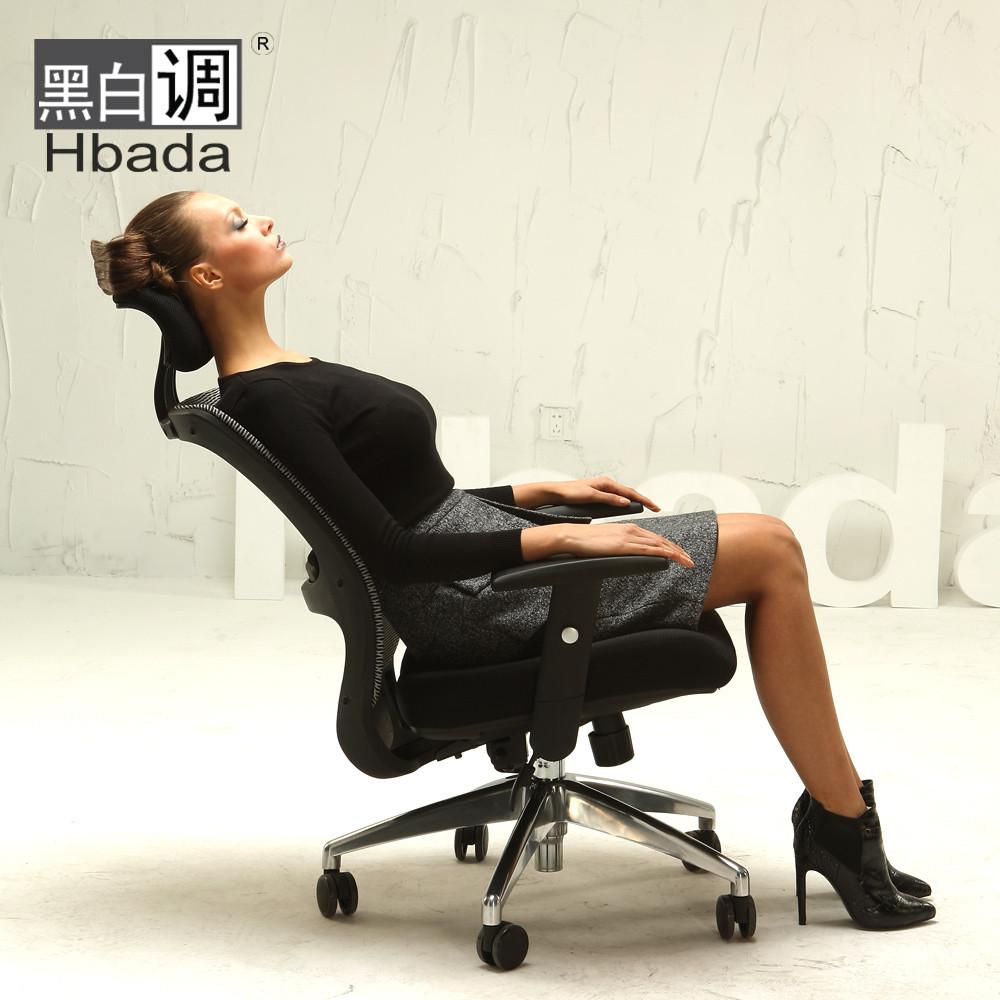 黑白調 標準版升級版填充物固定扶手升降扶手尼龍腳鋁合金腳網布 電腦椅
