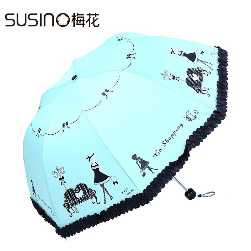 梅花手动碰击布遮阳伞三折伞成人遮阳伞