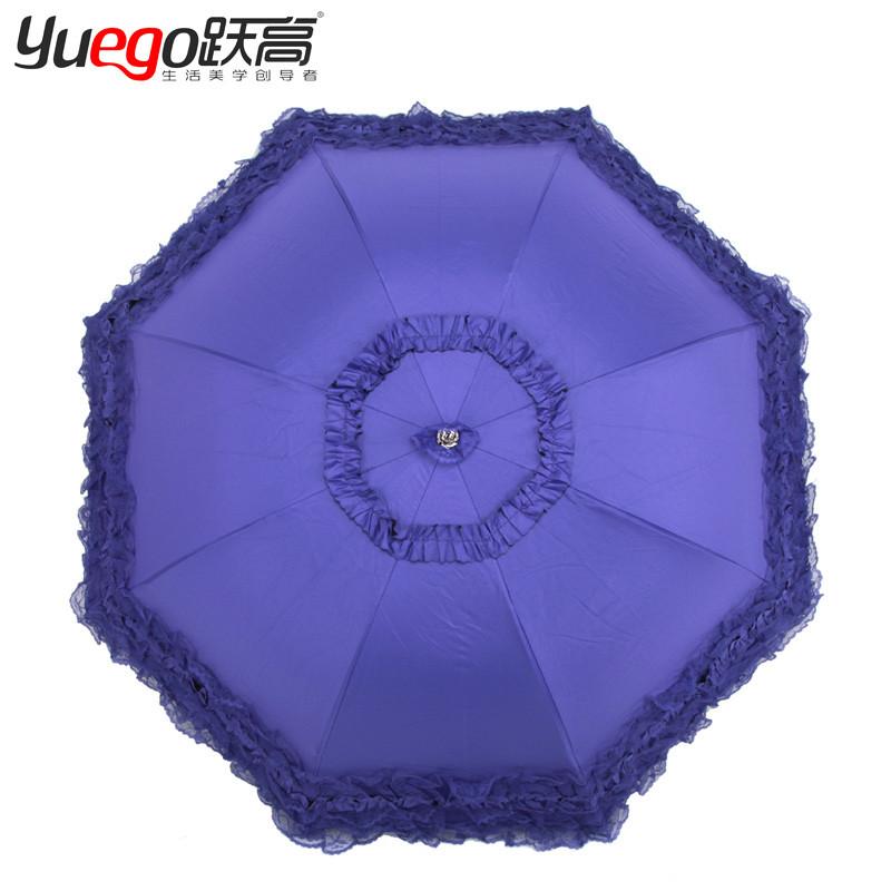 跃高黑胶手动碰击布遮阳伞三折伞成人遮阳伞