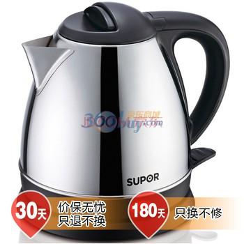 苏泊尔 银色国产优质温控器不锈钢5分钟普通电热水壶1.2L底盘加热 电水壶