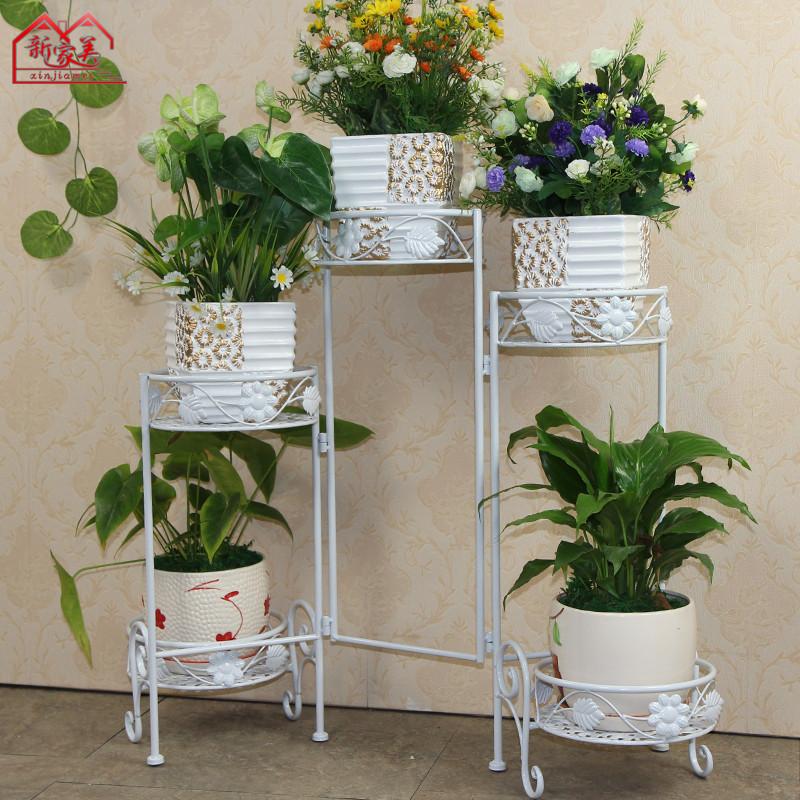 新家美 黑色古銅色白色焊接鐵金屬工藝框架結構多功能植物花卉歐式 花架