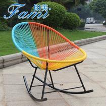 藤编织/缠绕/捆扎结构折叠艺术成人田园 摇椅