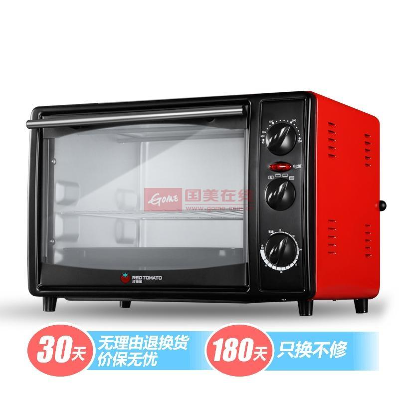 红蕃茄 红色不锈钢台式冷扎板下拉式上下管加热镀铝内胆机械式电烤箱 电烤箱