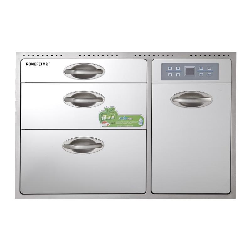 榮飛 銀白色101L以上二星級臭氧+紫外線+高溫嵌入柜整機保修一年鋼化玻璃機械控制 消毒柜