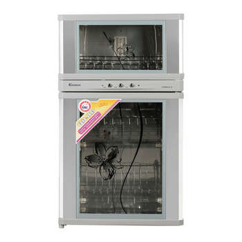 科荣 不锈钢色二星级臭氧消毒钢化玻璃机械控制 消毒柜