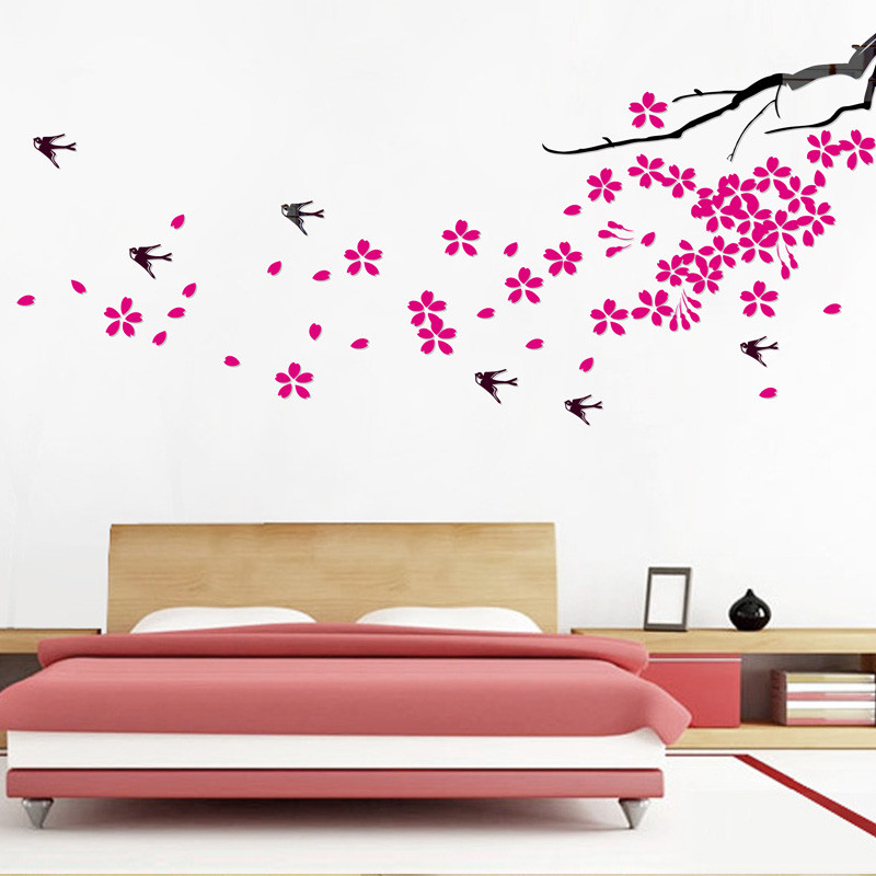 Ranpoo 立体水晶-樱花飞舞墙贴植物花卉 墙贴