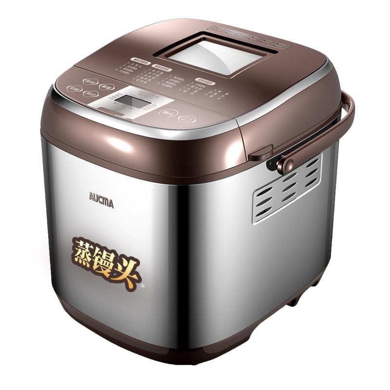 澳柯玛 咖啡色+不锈钢原色单搅拌叶片塑料+金属外壳电热管加热电脑式 面包机