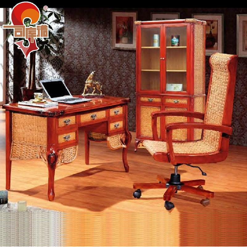 司库诺办公桌电脑桌植物藤移动东南亚书桌