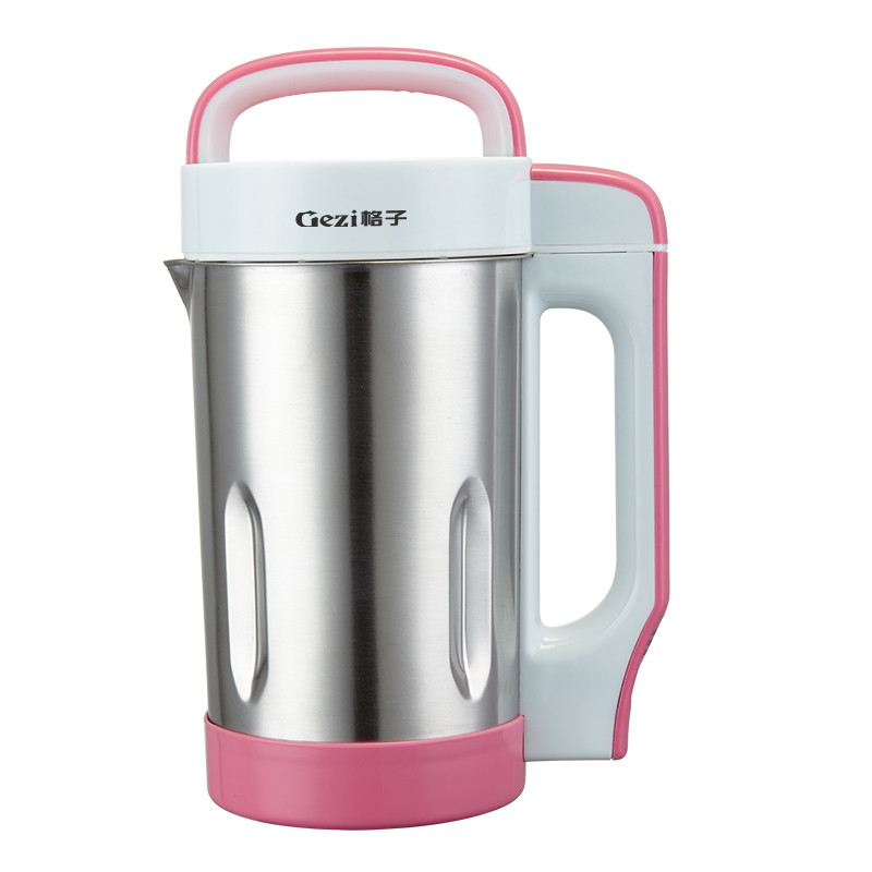 格子 粉红色全国联保不锈钢底盘加热 豆浆机