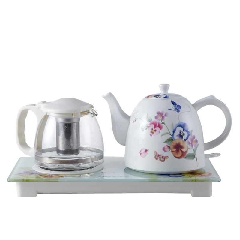 榮事達 白色自動斷電內壁標示全國聯保陶瓷電熱茶具套裝有底盤加熱 電水壺