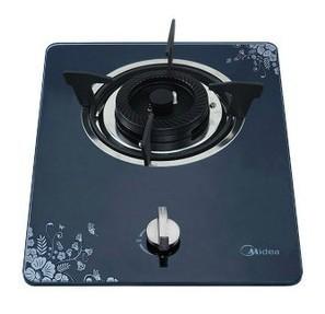美的 黑色热电天然气液化气脉冲电子点火全进风嵌入式钢化玻璃 燃气灶