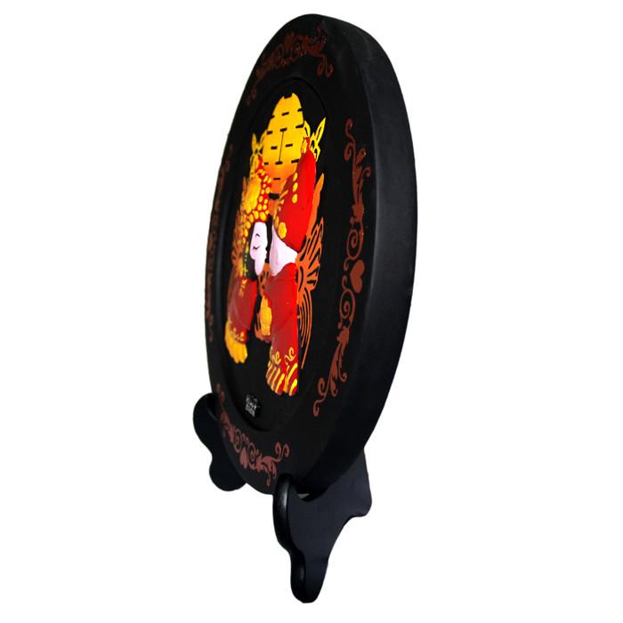 金乌炭雕红色活性炭人物姻缘简约现代摆件