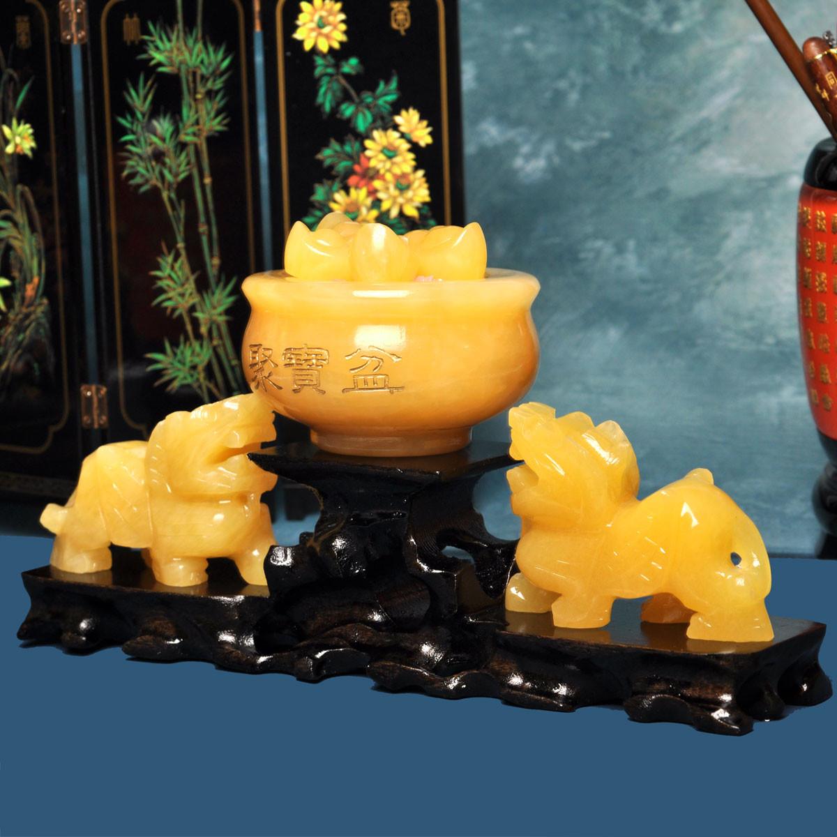 风水阁石材动物桌面摆件招财明清古典摆件