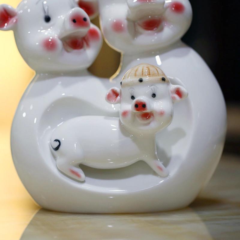 君凯陶瓷三猪存钱罐陶瓷动物招财简约现代摆件