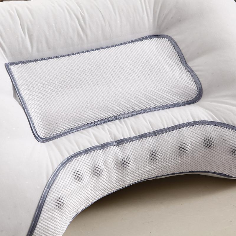 简静白色含包装七孔枕棉布纤维枕长方形枕头