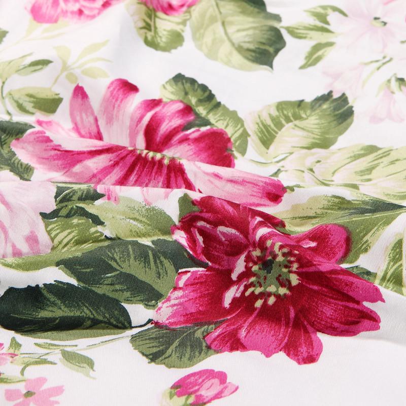 富安娜紫色田园斜纹植物花卉床单式欧美风床品件套四件套