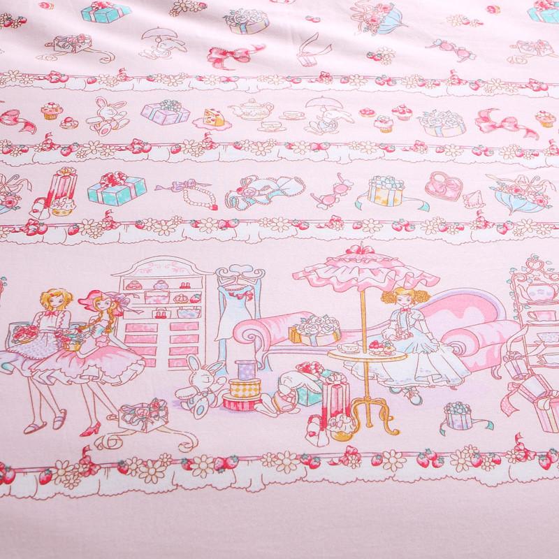 馨而乐假日派对(爆款抢订)韩式荷叶边活性印花斜纹植物花卉床单式公主风床品件套四件套