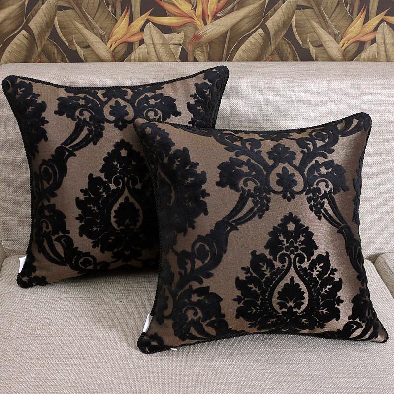 丝茉尔 黑色布靠垫套/抱枕套化纤植物花卉欧式 抱枕
