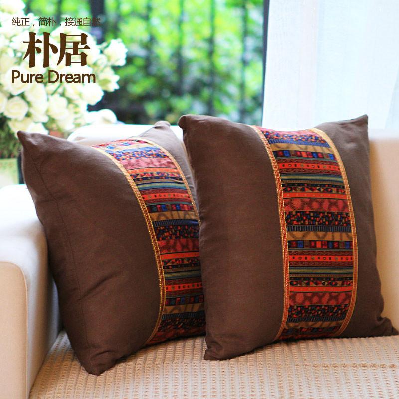 朴居布靠垫被棉条纹欧式抱枕