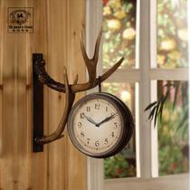 鹿角挂钟树脂双面美式乡村 闹钟