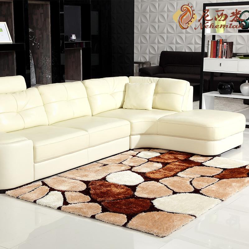 尼西米混纺简约现代格子长方形日韩机器织造地毯