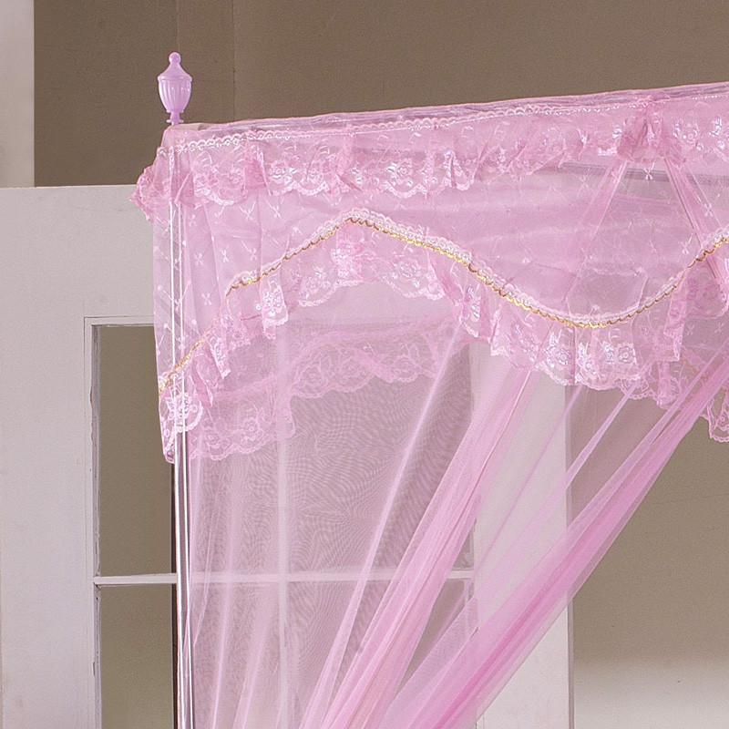 希皇紫色粉色米黄色蓝色不锈钢管蚊帐拉链方帐通用蚊帐