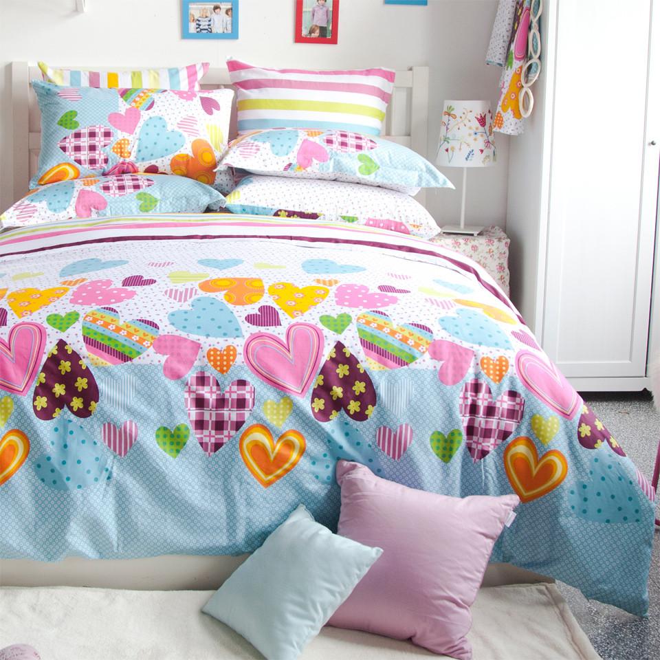 多喜愛 床笠款床單款涂料印花心形床單式田園風 床品件套四件套