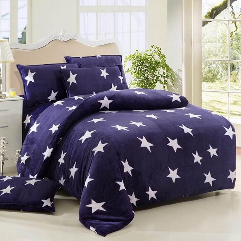 皇家皇朝 法蘭絨所有人群四件套床單式歐洲風格活性印花 星星點點床品件套四件套