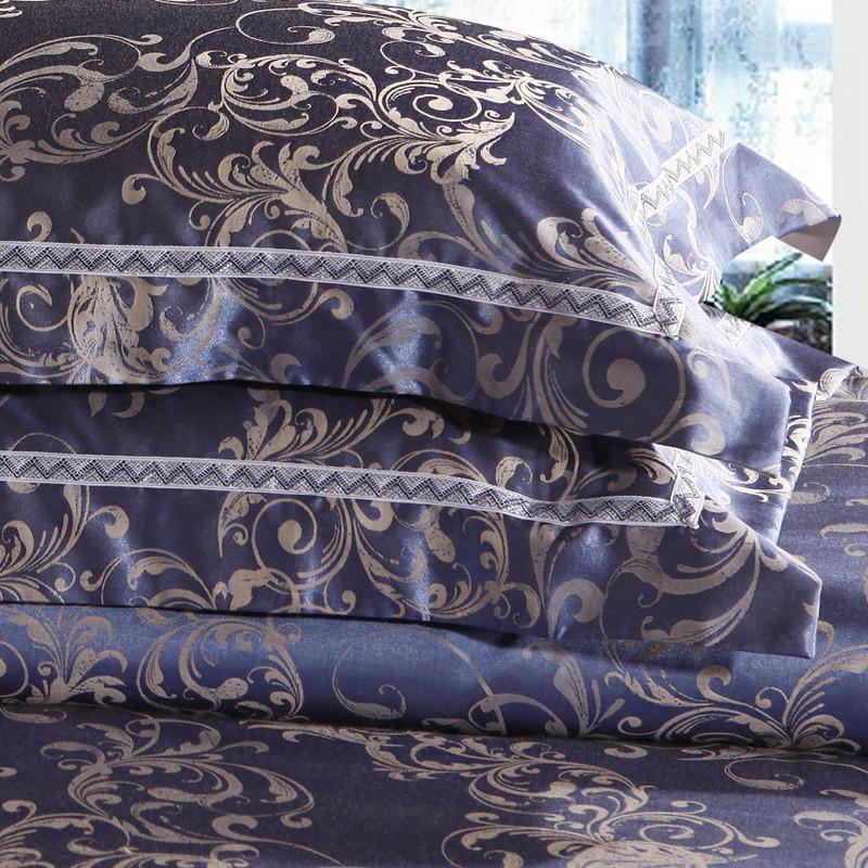 雅靈 活性印花簡約現代絲綿提花植物花卉床裙式簡約風 床品件套四件套