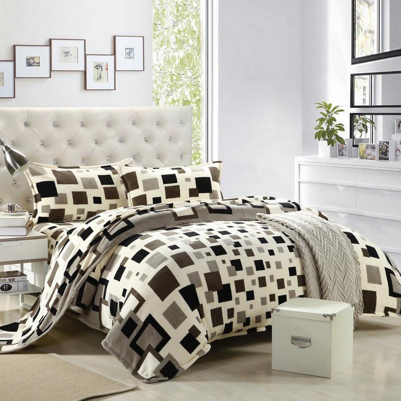 天绚 珊瑚绒成年人四件套床单式几何图形活性印花 幸福格调床品件套四件套