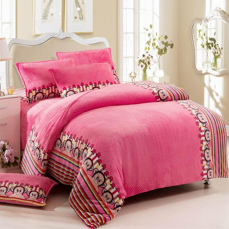 皇家皇朝 法蘭絨所有人群四件套床單式歐洲風格活性印花 眼鏡猴床品件套四件套