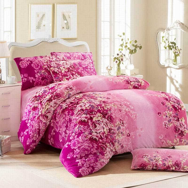 皇家皇朝 法蘭絨所有人群四件套床單式歐洲風格活性印花 春暖花開床品件套四件套