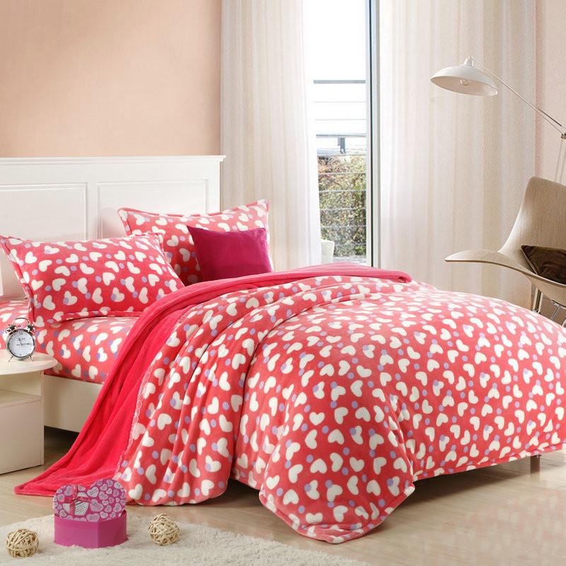 天绚 珊瑚绒成年人四件套床单式几何图形活性印花 心心相印床品件套四件套