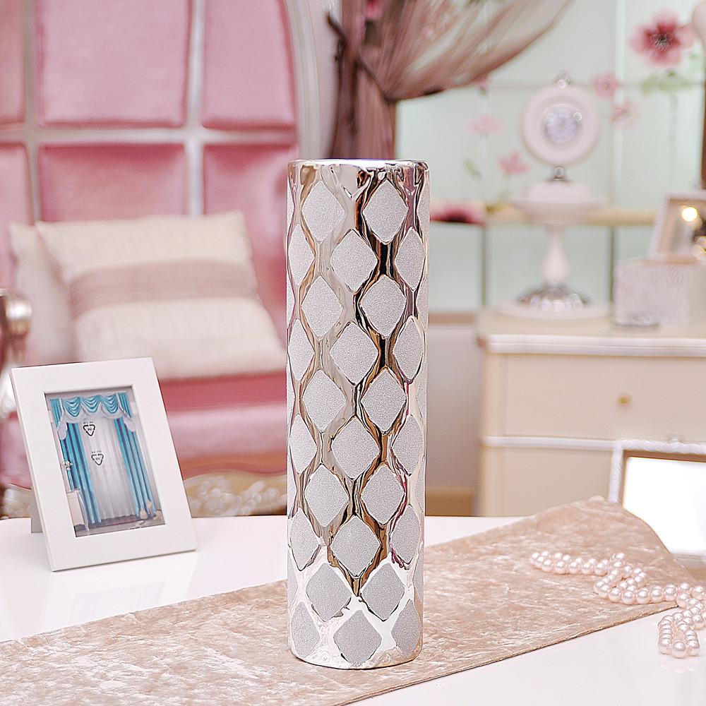 歐瑞雅 金色金銀一對銀色陶瓷臺面花瓶簡約現代 花瓶